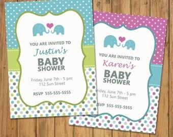 PE9 - BABYSHOWER INVITATION -  to personalize. Digital download.Elephant. Birthday, Babyshower