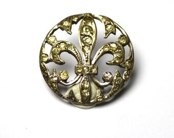 Antique French Paste Fleur De Lys Sterling Button Marked PRT 032
