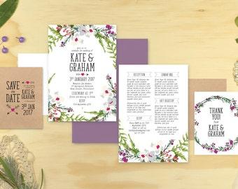 Wedding Invitation Set, Digital Printable File, Sweetheart, Designer Invite Kit.