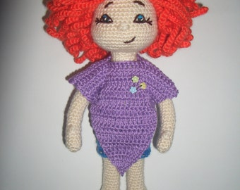 Doll Pauline - knitted doll. Knitted toy for kids.