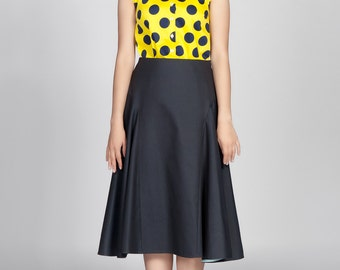 Flared Midi Skirt Navy Blue