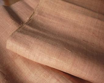 Length of salmon pink hemp fabric - handwoven textile - Grade A hemp