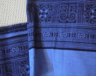 Tribal cotton textile, blue Hmong batik print