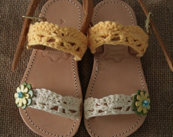 Kid Leather / Knitted Cotton Sandal