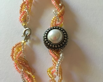 Peach Braided Bracelet with Pearl