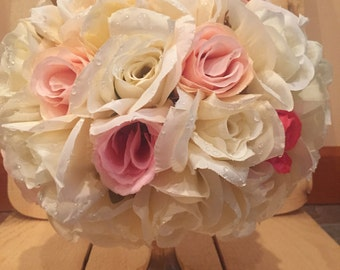 Rose centerpieces (wedding, pomanders, pink, floral)