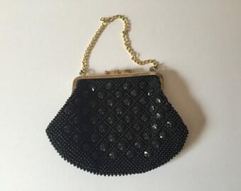 Black bag, Evening bag, Vintage, beaded Contessa Francesca