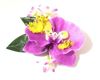 Purple and yellow tropical orchid tiki pinup hair flower clip