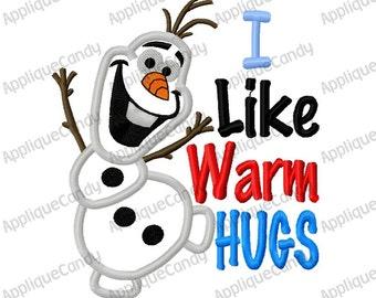 Frozen Snowman 4 Applique Machine Embroidery Design 4x4 5x7 6x10 8x8 I like warm hugs Olaf INSTANT DOWNLOAD