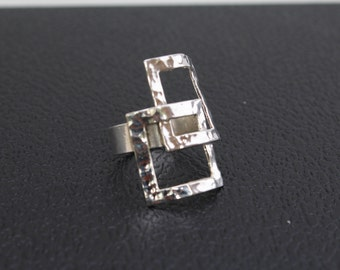 Handmade Sterling Silver .925 Taxco Band Ring Two Rectangle Hammered