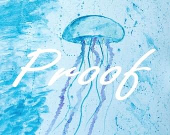 """Jellyfish Watercolor Art Print 4x6"""", 5x7"""", 8x10"""", 11x14"""""""
