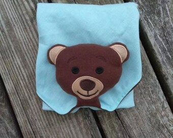 Teddy Bear Stuffie for Lovey Blanket Embroidery Design