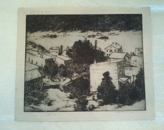 1912 Signed E T Hurley Etching