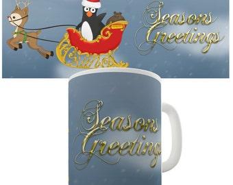 Guin The Penguin On Sleigh Ceramic Tea Mug