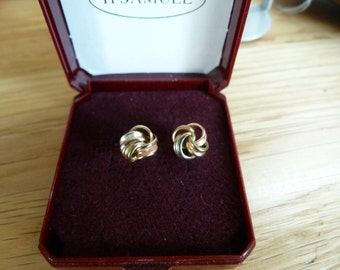 9ct  2 tone gold knot earrings
