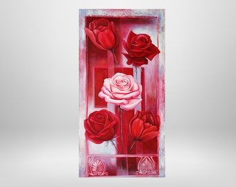 Roses, flowers, oil painting, art print on canvas