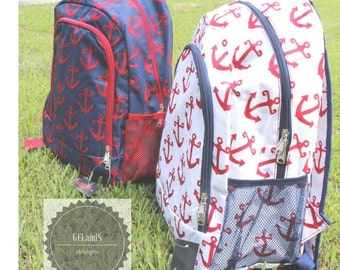 Personalized Red and Blue Anchor backpack- Monogrammed backpack Same or Next day Shipping