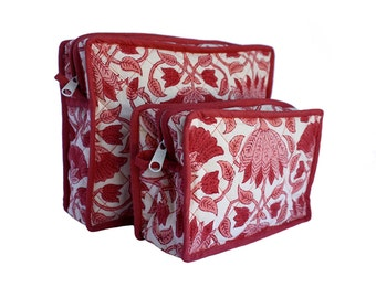 Unisex wood block printed toiletry with lotus pattern and plastic lining