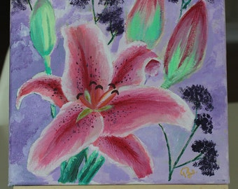 Lily Flower, acrylic painting