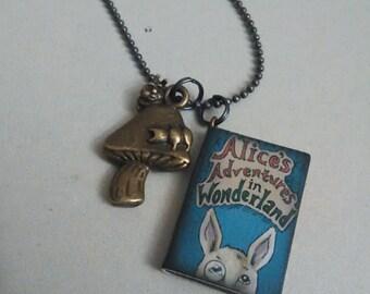 Alice in Wonderland Book Charm Necklace