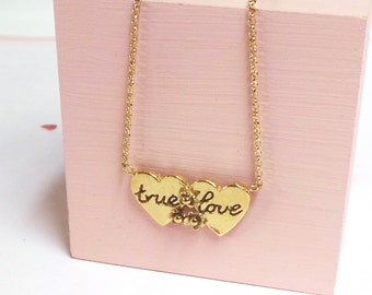 Gold Double Heart 'True Love' Necklace