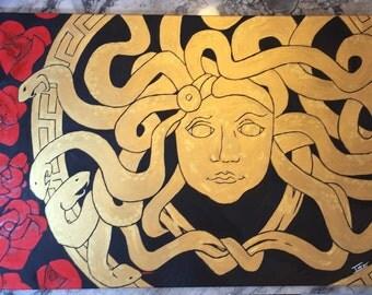 """Medusa - Snake Goddess 36"""" Oil Painting"""
