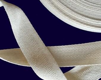 """1"""" Cotton Herringbone Natural Twill Tape 50 YARDS"""