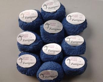 "Trendesetter ""Fatiques"" yarn, Aran wool/poly blend, denin blue color"