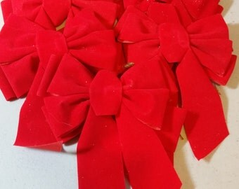 5 Christmas Red Velveteen Bows, 4 1/2in.W x 6in. H, Christmas Decorations,crafts and supplies