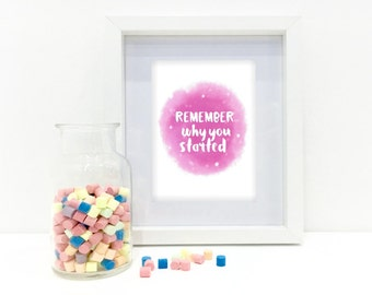 Instant downloadable print - Remember why you started