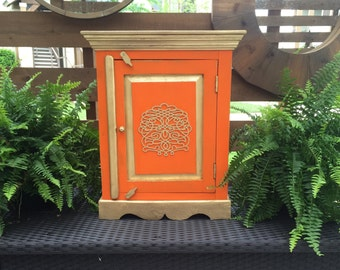 Wood Distressed Orange Cabinet