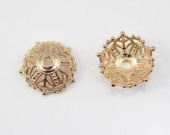 Lot 4 large cups flower gold plated 16 mm x 8 mm