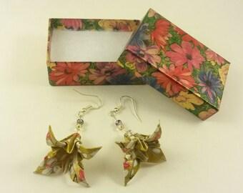 Gold Origami Flower Iris Earrings