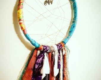 Unique handcrafted elephant dreamcatcher; glittery tulle with bohemian accent