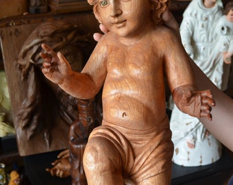 Hand Carved wood Christ Child, Baby JESUS sculpture statue Religious Christmas Spanish Colonial Art