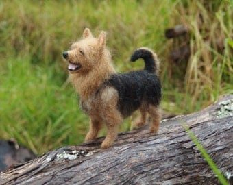 Needle felted Australian Terrier, blue and tan