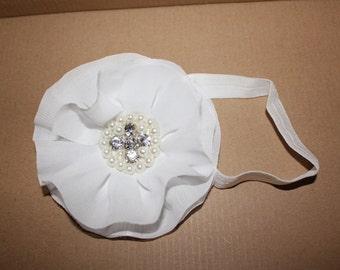 White Chiffon Jeweled Headband