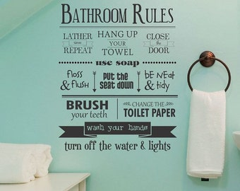 SALE!! Bathroom Rules Wall Decal