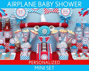 Airplane Baby Shower Package Collection Set Mini Personalized Printable // Airplane - S1Pz1