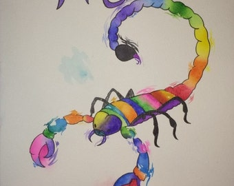 Scorpio Zodiac Watercolor Painting