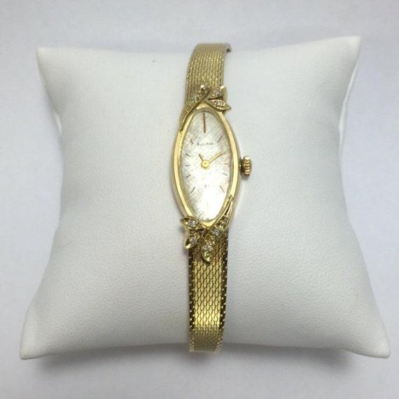 Ladie's 14k Yellow Gold Bulova Oval Mesh Watch w/ Diamonds mfg. 1972