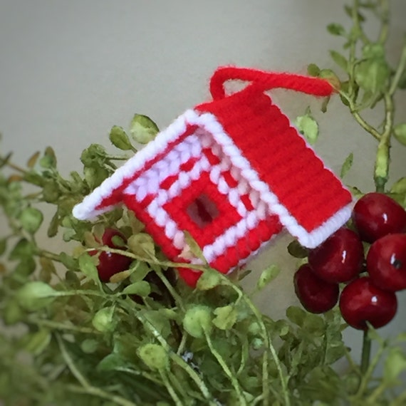 Birdhouse Ornament/Handmade Christmas/Red and White Christmas Tree Ornament/Country Christmas/ Grandmas House/Plastic Canvas/Yarn