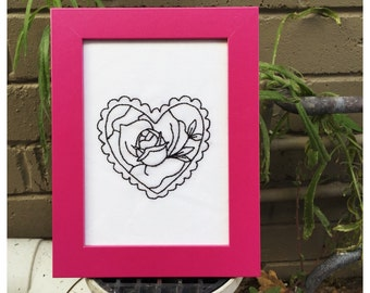 Rose Lace Heart Embroidery in frame