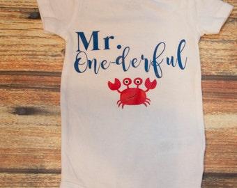 Mr. Onederful onesie with Crab
