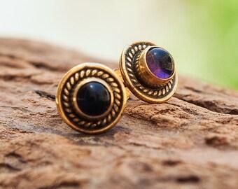 Amethyst Stud Earrings // Amethyst Ear Studs // Amethyst Post Earrings // Gemstone Earrings // Minimal Earrings // Everyday Earrings