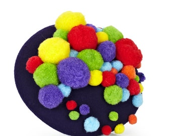 Felt Button Hat with pompoms