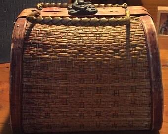 Tiny Woven Wicker & Wood Handbag - CUTE!!