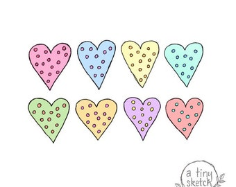 dotty heart clipart • 8 png files with transparent backgrounds • hand drawn