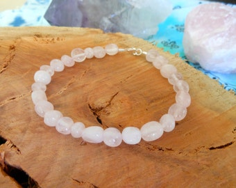 Genuine Rose Quartz Crystal Healing Pebble Bead Bracelet