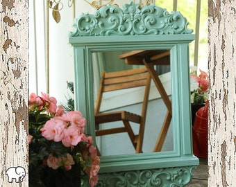 Mirror/ Wall Hanging/ Cottage Chic/ Mint/ For Her